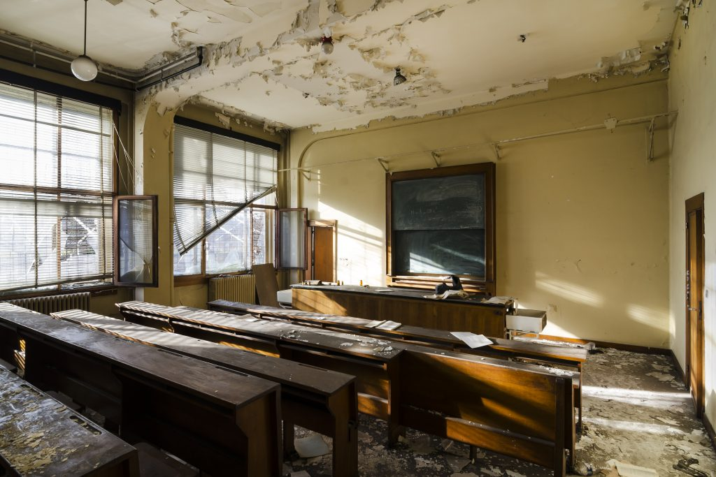 lost classroom in abandoned university