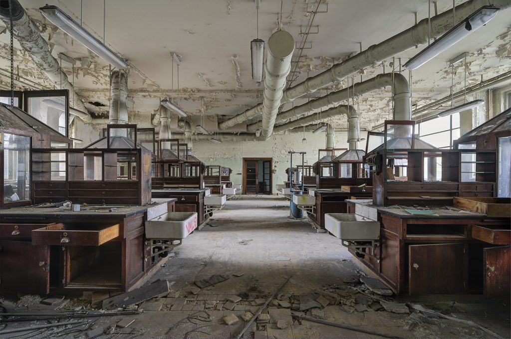 abandoned science class lab in forgotten school