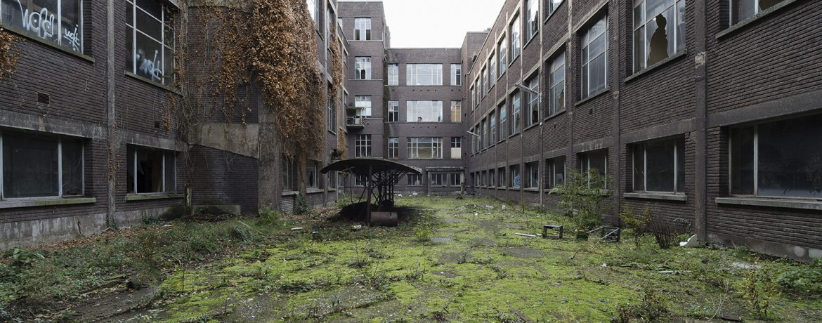lost schoolyard with green in an abandoned school in Belgium