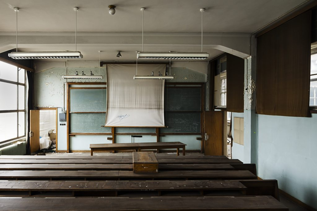 forgotten classroom in a old abandoned school site of val benoit